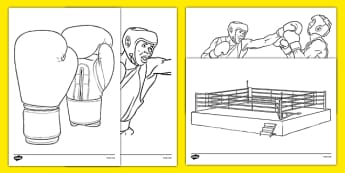 The Olympics Boxing Colouring Sheets - Boxing, Olympics, Olympic Games, sports, Olympic, London, 2012, colouring, fine motor skills, poster, worksheet, vines, A4, display, activity, Olympic torch, events, flag, countries, medal, Olympic Rings, mascot