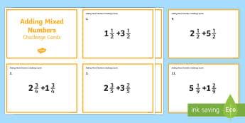 Adding Mixed Numbers Challenge Cards - fractions, decimals, mixed numbers, improper fractions, addition, subtraction, fourth grade, common