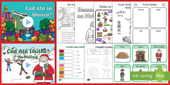 Christmas Resource Pack Gaeilge - activity, irish, dot to dot, santa, december, PowerPoint, language, Irish