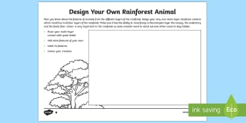 Design Your Own Rainforest Animal Read and Draw Worksheet / Activity Sheet - World Around Us KS2 - Northern Ireland, rainforest, adaptation, design, draw, create, adapt, camoufl