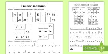 I numeri mancanti Attività - ordinare, mettere, i, numeri, mancanti, italiano, italian, matematica, linea, dei, numeri, materiale