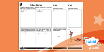 PlanIt Maths Y1 Addition and Subtraction Telling Stories Home Learning Tasks