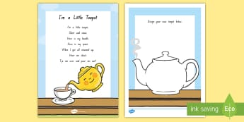 I'm A Little Teapot Worksheet / Activity Sheet - NZ Literacy Resources, Year 1-3, nursery rhymes, New Zealand, activity, worksheet, activities, readi