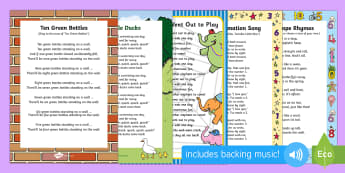 Number Recognition Songs and Rhymes Resource Pack - Maths, numbers, numerals, numeracy, 1-10, 0-10, singing, song time