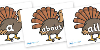 100 High Frequency Words on Turkeys - High frequency words, hfw, DfES Letters and Sounds, Letters and Sounds, display words