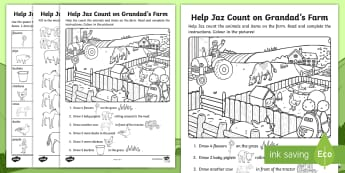 Grandad's Farm Draw and Count Activity Sheet - ROI, worksheet, Aistear, Story, Number, Poster,Irish