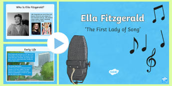 all about Ella Fitzgerald PowerPoint - jazz, singer, american, first lady of song, music, inspiration, ppt, powerpoint, power point, ella f
