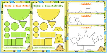Build a Shape Dinosaur Activity - build, dinosaur, shape activity