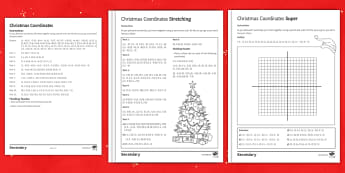 Christmas Coordinates (Using 4 quadrants) Differentiated Activity Pack - Decimals, negative, snowman, santa, candy cane, plot, end of term