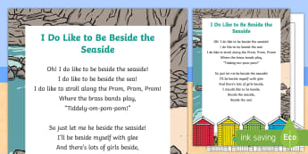Oh! I Do Like to Be Beside the Seaside Song Lyrics - beach, summer, holiday, holidays, assembly,