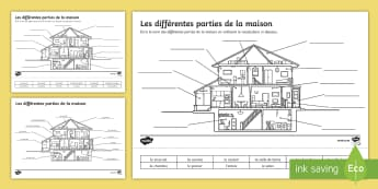 Parts of a House Worksheet / Activity Sheet French - KS3, French, Home, Town,house, maison, rooms, pièce, label,French