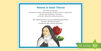 Novena to Saint Therese A4 Display Poster - St therese, religion, novena, prayer, prayer corner, saint, assembly, grow in love, alive o,Irish