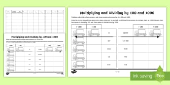 Multiplying and Dividing by 100 and 1000 Activity Sheet - Learning from Home Maths Workbooks, place value, place value chart, Multiply and divide whole number