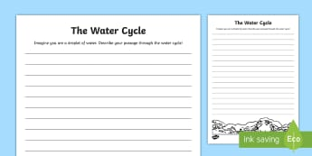 Water Cycle Free Writing Activity Sheet - All About Water, water, droplet, rain, water cycle, free writing, prompt, writing prompt, creative,