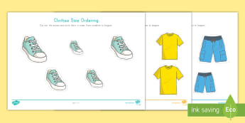 Clothes Size Ordering Activity - Cutting Skills, Center Activity, Individual Activity, Clothing Unit, Clothes Unit,