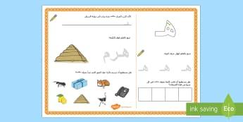 ورقة نشاط حرف الهاء - الحروف الهجائية، الحروف، ألف باء، عربي، الأحرف، حرف ال