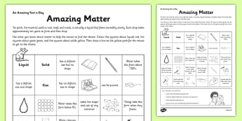Amazing Matter Activity Sheet - matter, state, game, amazing matter, worksheet