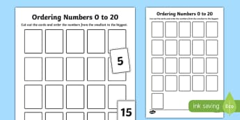 Ordering Numbers 0 to 20 Activity