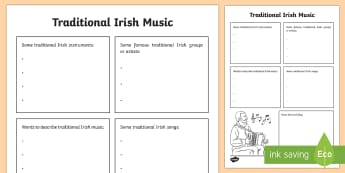 Traditional Irish Music Snapshot Activity Sheet - ROI - St. Patrick's Day Resources, music, traditional Irish music, trad msuic, snapshot, informatio