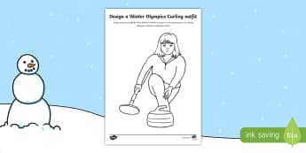 KS1 Design a Winter Olympics Curling Outfit Activity Sheet - Olympic Games, Sportswear, Sport Suit, Winter sports, Curler