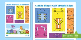 Cutting Shapes with Straight Edges Activity Sheet - Back to School, Junior Infants, cut, scissors, motor skills, fine motor,Irish, monster, worksheet