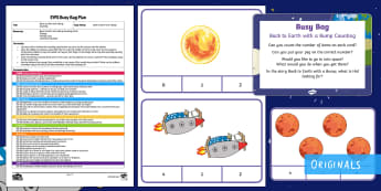 Back to Earth with a Bump Counting Busy Bag Plan and Resource Pack - Hal, Space, maths, Numeracy, Moon Twinkl Fiction, Twinkl stories