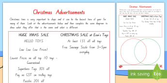 Comparing Christmas Shop Advertisements Activity - comparison, xmas, shopping, venn diagram, percentage,