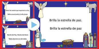 Noche de Paz Christmas Carol Lyrics PowerPoint Spanish - spanish, silent night, christmas, carol, lyrics, powerpoint