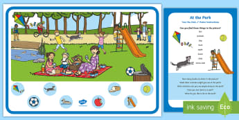 At the Park Can You Find...? Poster and Prompt Card Pack - EYFS Parks and Gardens, playgrounds, play park, swings, ducks, outdoors, outside, feed the ducks, po