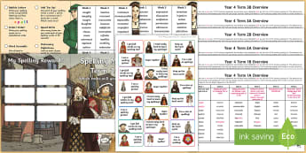 Year 4 Tudor Themed  Spelling Menu Pack - Year 4 Tudor Themed  Spelling Menu Pack, spelling lists, SPaG, Y4