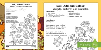 Leaf Roll and Colour Dice Addition Activity English/German - EAL, german, leaf, roll and colour, dice, addition, addition activity, game