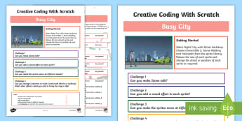Busy City Scratch Activity Sheet - worksheet, computing, programming, coding, algorithms, instructions, commands, Scratch