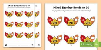 Mixed Number Bonds to 20 Worksheet / Activity Sheet