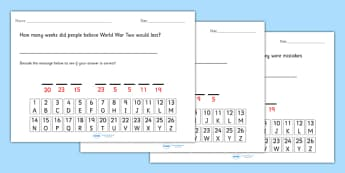 World War Two Cryptogram Fact Worksheets - world war two, world war 2, ww2, world war II, world war two cryptogram, world war two code worksheet