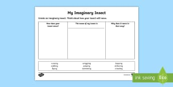 My Imaginary Insect and How It Moves Worksheet / Activity Sheet - New Zealand, minibeasts, insects, bugs, minibeast, year 1, year 2, year 3, science, nature, living w