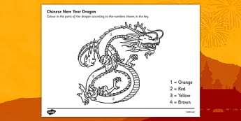 Australia Number Colouring Chinese Dragon-Australia - Australia Number Colouring Chinese Dragon - colouring, sheets, fine motor skills, colour by numbers,