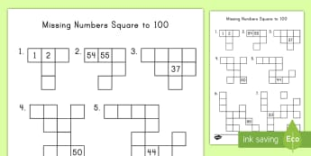 Missing Numbers Hundred Square Activity Sheet - numbers, 100, math, puzzle, worksheet, addition, place value, add ten, subtract ten,