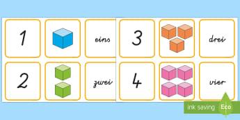 Zahlen 0-10 Quartett Kartenspiel - Zahlen 0 - 10, Zahlenverständnis, Spiel, German