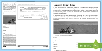 St. John's Eve Activity Sheet Spanish - festivities, saint, john, Eve, parties, culture, Spain, traditions, activity, sheet, reading, compre