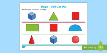 Shape Odd One Out Activity Sheet - Odd One Out, shape, 2d, 3d, verbal, reasoning, debate, discussion, maths, starter