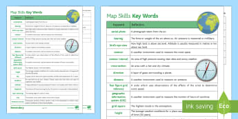 Map Skills Keywords Glossary Activity Sheet - Map skills, Maps, Keywords, Glossary, Scale, Distance, Contour, Spot height, Distance