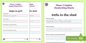 Middle East Phase 3 Captions Handwriting Activity Sheets - writing captions, Literacy, Phonics, letters and sounds, UAE, Dubai, Abu Dhabi, sounds, KS1, Bahrain