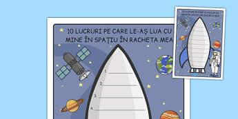 Ce aș lua cu mine în racheta mea - Fișă pentru scriere - ce, aș lua, rachetă, spațiu, cosmos, fișă de scriere, stele, compunere, scris, materiale, materiale didactice, română, romana, material, material didactic