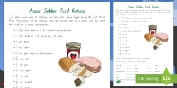 Anzac Soldier Rations Worksheet / Activity Sheet - New Zealand, Anzac Day, 25 April, ANZAC, Poppies, World War 1, worksheet, World War 2, Gallipoli, fo