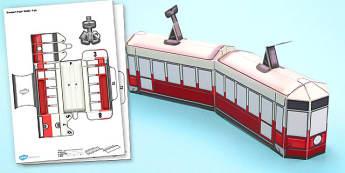 Transport Paper Model Tram - transport, paper, model, tram, craft