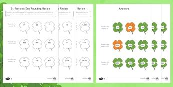 St. Patrick's Day Rounding Review Differentiated Worksheet / Activity Sheets - St. Patrick's Day, rounding, tens, hundreds, thousands, ten thousands, clover, shamrock, 3rd grade,