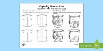 Capacity More or Less Activity Sheet English/Romanian - Capacity Matching Cards EYFS - capacity, maths, numeracy, matching cards, match, cards, eyfs, capact