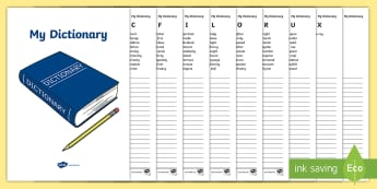 My Dictionary Workbook - dictionary, workbook, my dictionary