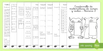Sumas y restas Num. 3 Cuadernillo de matemáticas-Spanish