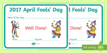 April Fools' Day Joker of the Day Certificate-Irish - ROI, April Fools Day, Joker, English, Behaviour, Certificate, first of april, joke, humor, prize,Iri